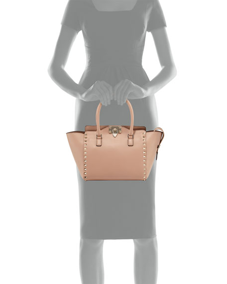 Small Shopper Double-Handle Rockstud Tote Bag, Taupe