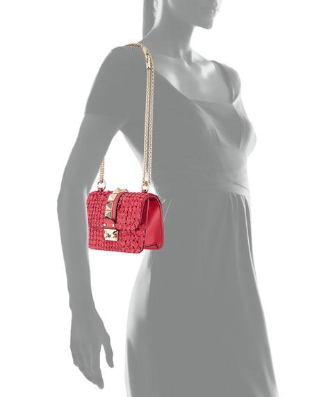 Valentino Garavani Mini Lock Floral-Appliqué Leather Shoulder Bag, Fuchsia