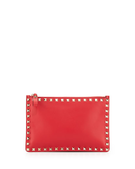Valentino Rockstud Small Zip Pouch, Bright Red