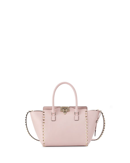 Valentino Rockstud Small Double-Handle Shopper Tote Bag, Pale Pink