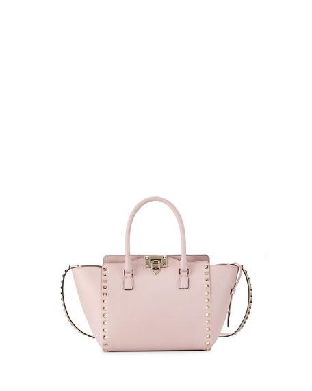 Valentino Garavani Rockstud Small Double Handle Per Tote Bag Pale Pink Neiman Marcus