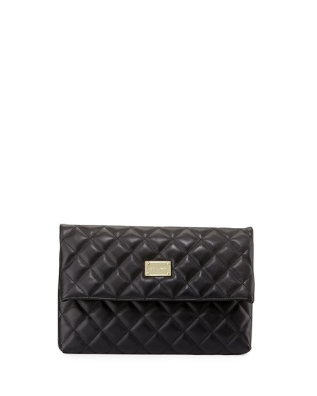 St. John Collection Quilted Leather Fold-Over Clutch Bag,