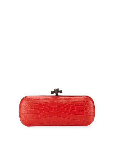 Bottega VenetaCrocodile Elongated Knot Clutch Bag, Red