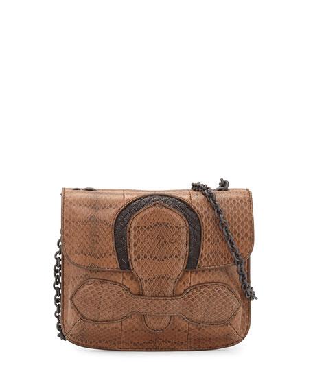 Bottega Veneta Snakeskin Small Tab Shoulder Bag, Brown
