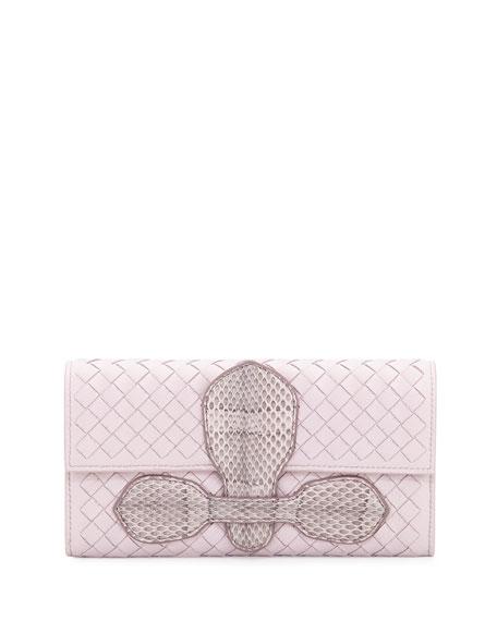 Bottega Veneta Snakeskin Continental Organizer Wallet, Rose