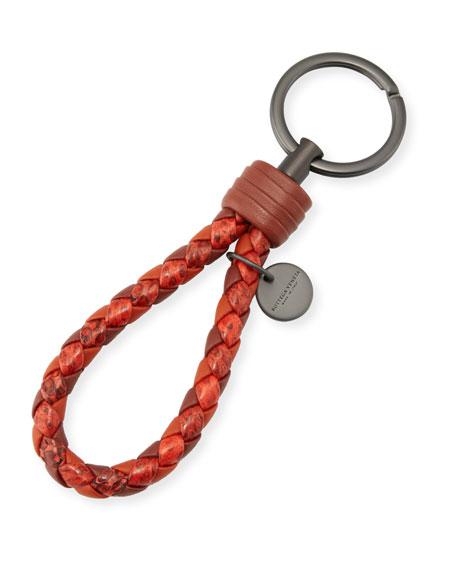 Intrecciato Lambskin/Snakeskin Key Ring, Red/Multi