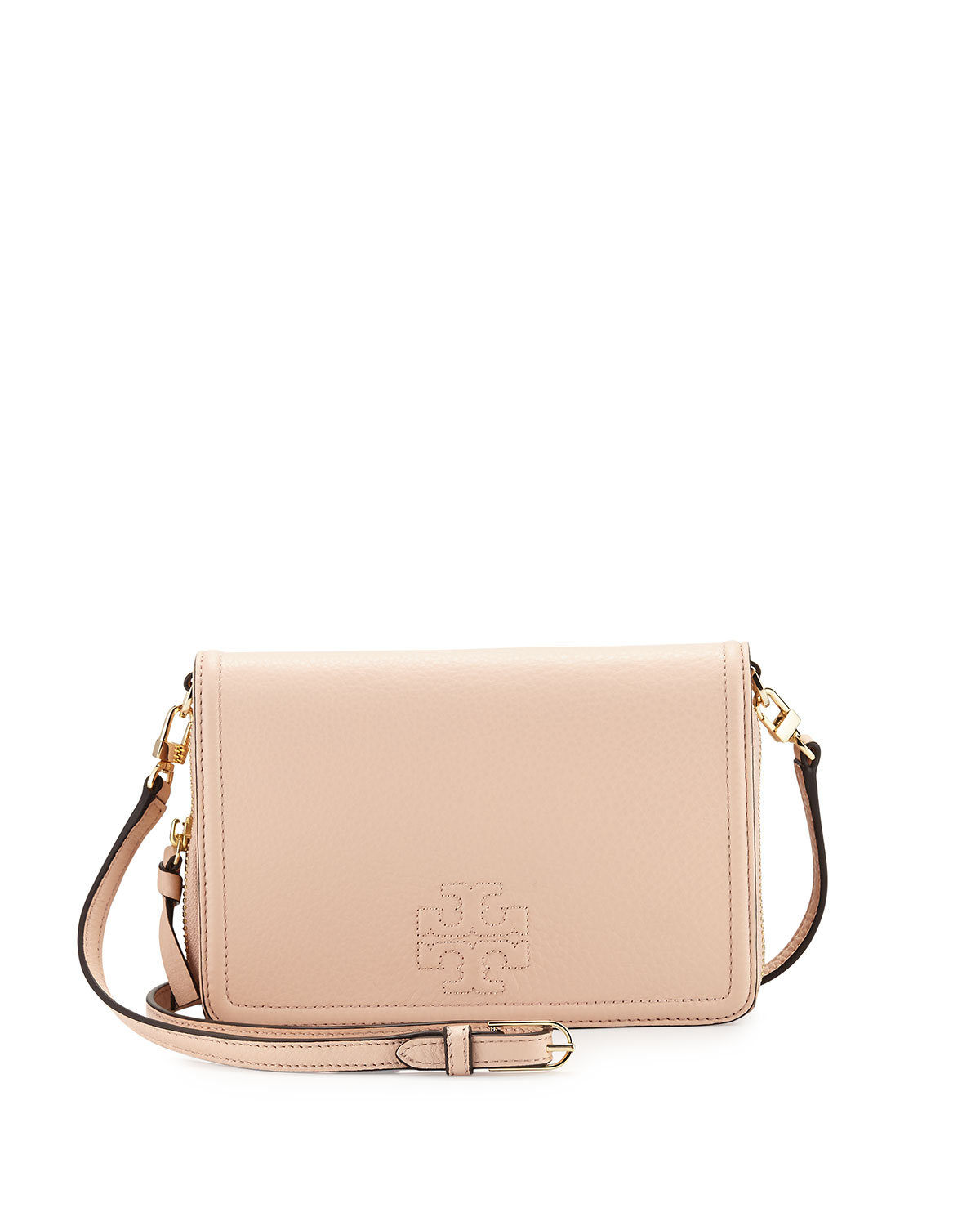 Thea Leather Wallet Crossbody Bag Light Pink