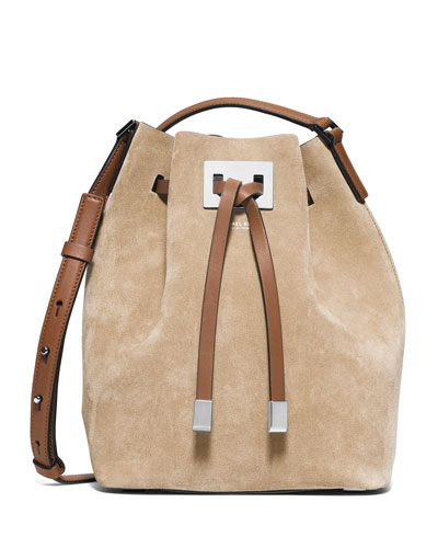 Miranda Medium Suede Bucket Bag, Sand
