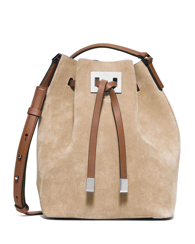 103627e3e93794 Michael Kors Miranda Medium Suede Bucket Bag, Sand | Neiman Marcus