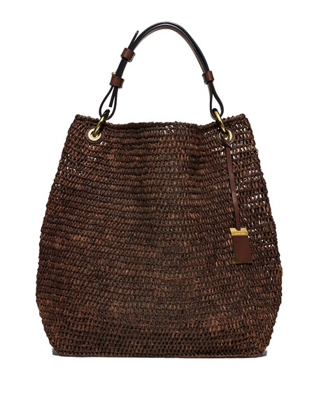 Santorini Large Raffia Shoulder Bag, Nutmeg