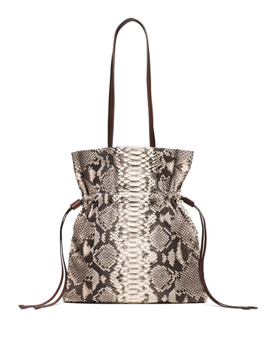 Salina Medium Python Bucket Bag, Natural