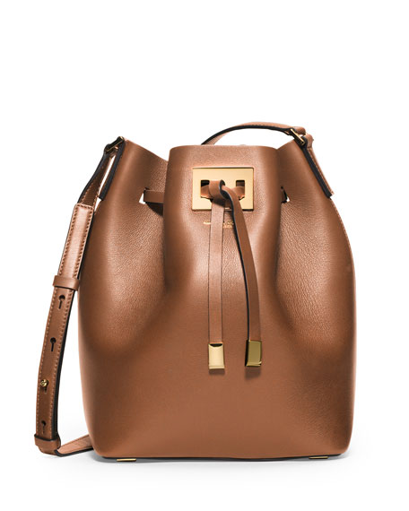 Michael Kors Collection Miranda Medium Leather Bucket Bag, Luggage