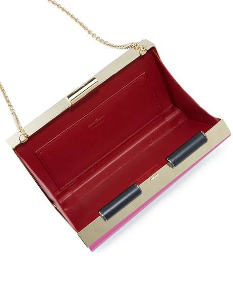 Sinila Lacquered Minaudiere Clutch Bag, Multicolor