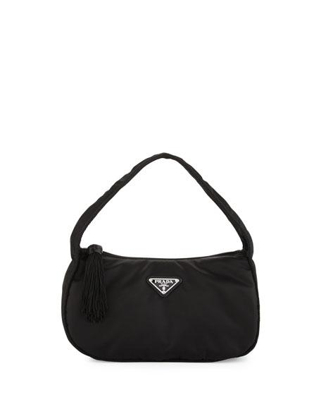 Nylon Small Zip Top Hobo Bag Black Nero
