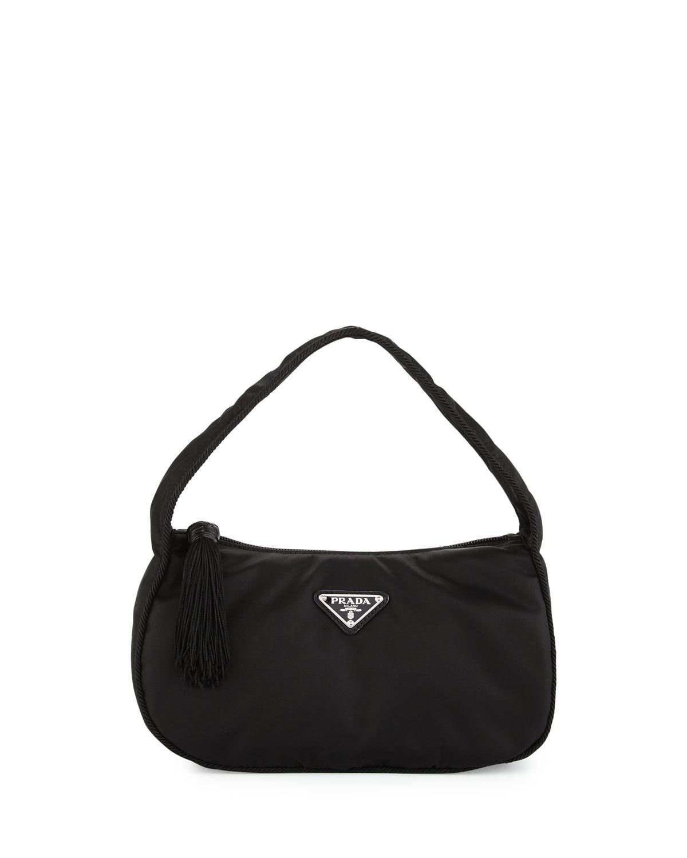 c3f96659cc8acc Prada Nylon Small Zip-Top Hobo Bag, Black (Nero) | Neiman Marcus