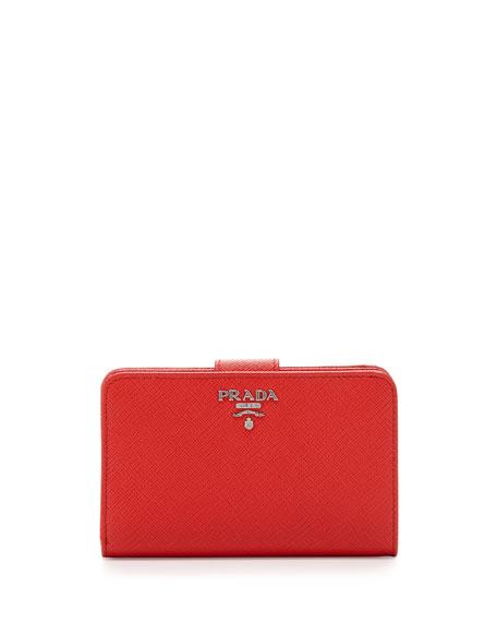 Prada Saffiano Metal Oro Bi-Fold Wallet, Red (Lacca)