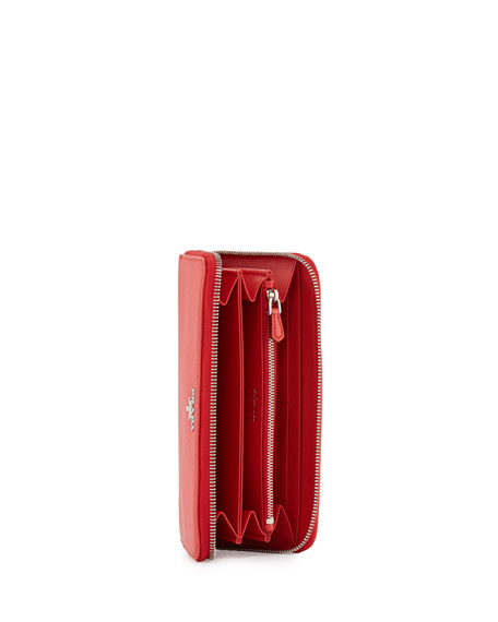 prada bags prices in usa - Prada Metal Oro Saffiano Zip Wallet, Red (Lacca)