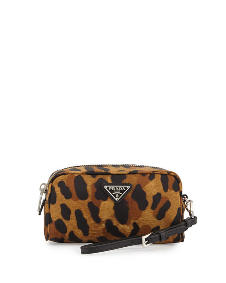 Prada Nylon Small Rectangular Wristlet, Black Leopard (Nero)