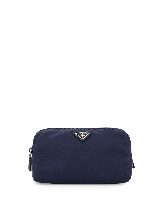 a2221b95af87 Prada Medium Nylon Triangle Cosmetic Bag, Dark Blue | Neiman Marcus