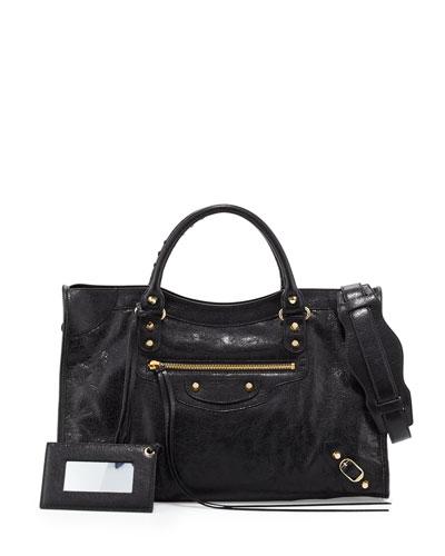 Classic City Lambskin Tote Bag, Black
