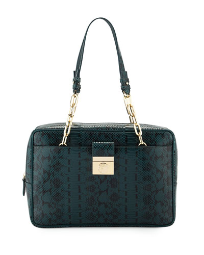 Snake-Embossed Leather Satchel Bag, Verde/Nero