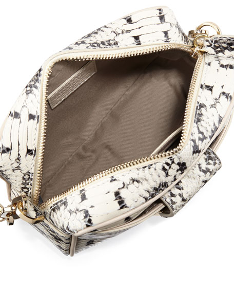Snake-Embossed Leather Crossbody Bag, Beige