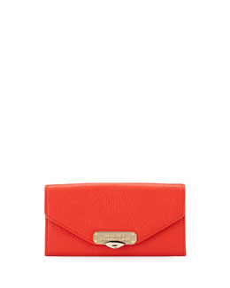 Pebbled Leather Envelope Wallet-On-Chain, Red