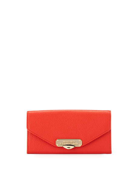 Versace Pebbled Leather Envelope Wallet-On-Chain, Red