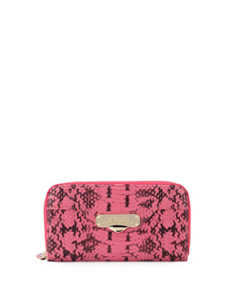 Snake-Embossed Leather Continental Wallet, Pink Snake