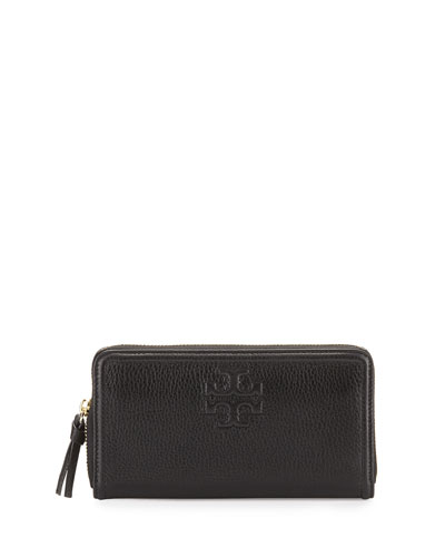Thea Leather Multi-Gusset Zip Wallet, Black