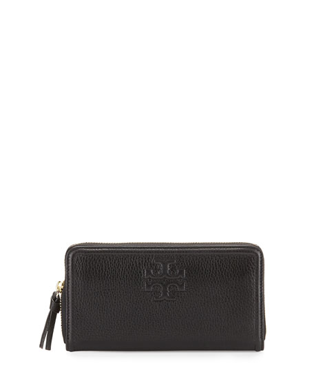 Tory Burch Thea Leather Multi-Gusset Zip Wallet, Black