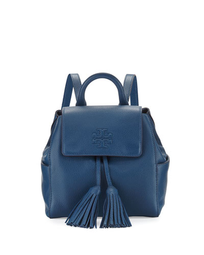 Thea Mini Leather Backpack, Navy