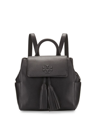 Thea Mini Leather Backpack, Black