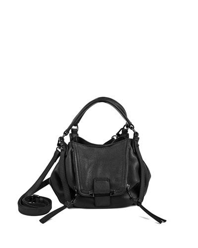 Jonnie Mini Leather Crossbody Bag, Black
