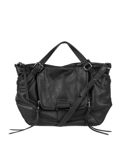 Gwenyth Leather Satchel Bag, Black