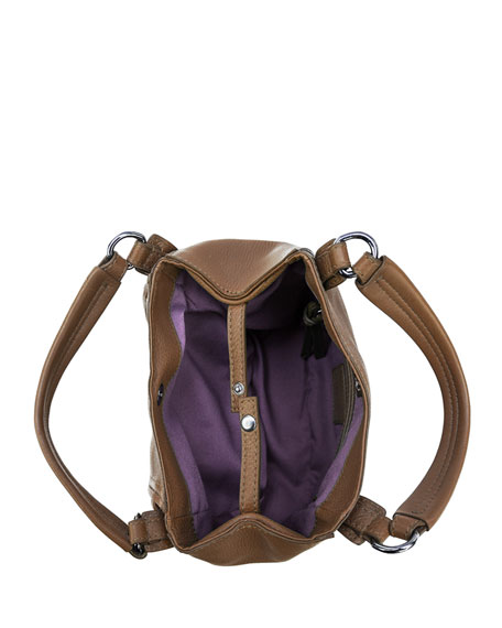 Jonnie Mini Leather Crossbody Bag, Caramel