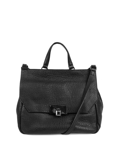 Gable Leather Satchel Bag, Black