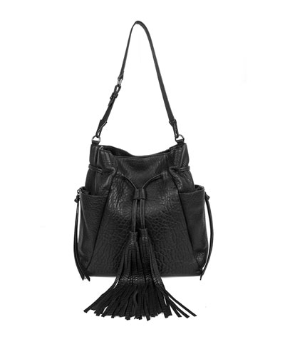 Priscilla Leather Bucket Bag, Black