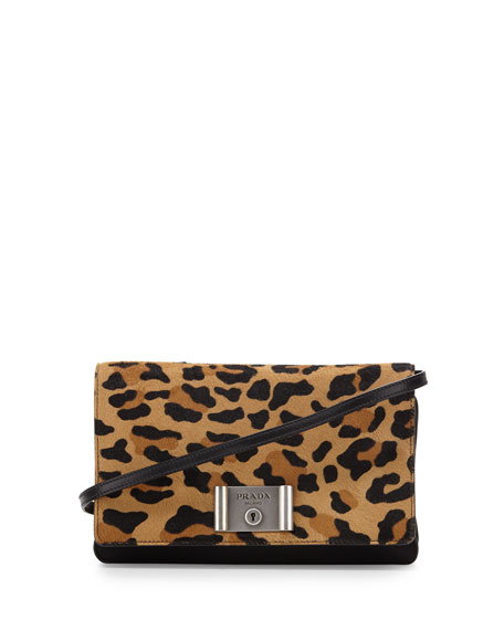 Prada Calf-Hair Flap Clutch Bag, Leopard