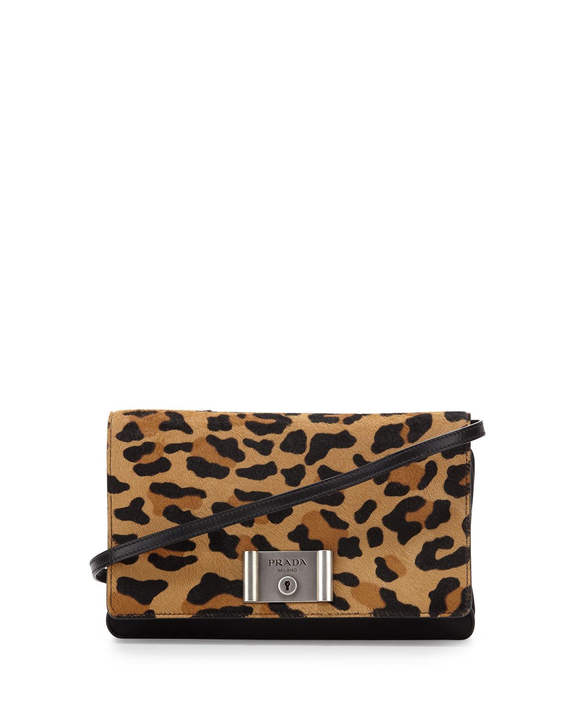 2ee69ffe6e5649 Prada Calf-Hair Flap Clutch Bag, Leopard | Neiman Marcus