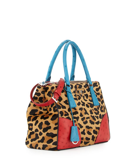 Prada Calf Hair \u0026amp; Ostrich Small Double Tote Bag, Leopard/Blue/Red ...