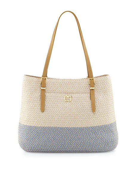 Eric Javits Squishee Jav II Tote Bag, Cream/Blue Tweed