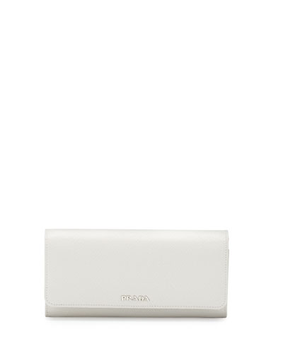 Continental Leather Flap Wallet, White/Black (Bianco+Nero)