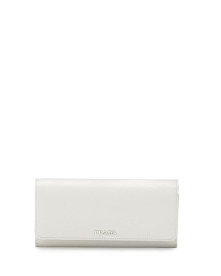 Prada Continental Leather Flap Wallet, White/Black (Bianco+Nero)