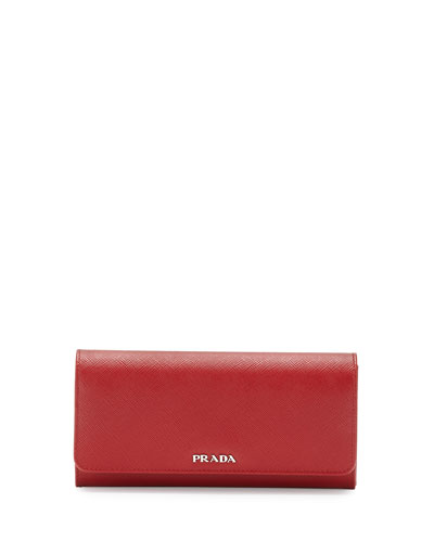 Continental Leather Flap Wallet, Red/Black (Fuoco+Nero)
