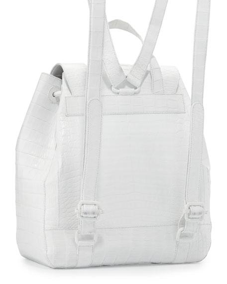 Crocodile Drawstring Backpack, White Shiny