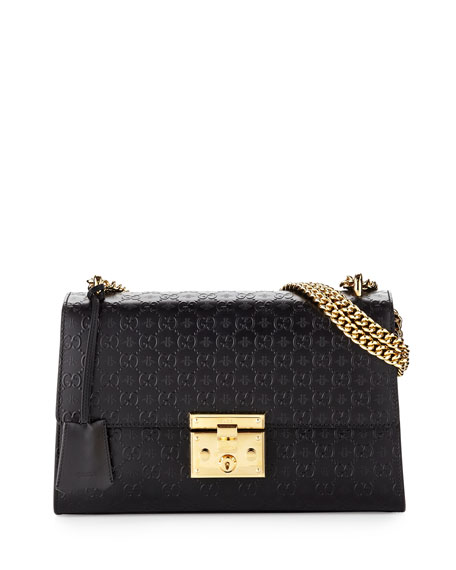 Gucci Padlock GG Medium Leather Shoulder Bag, Black