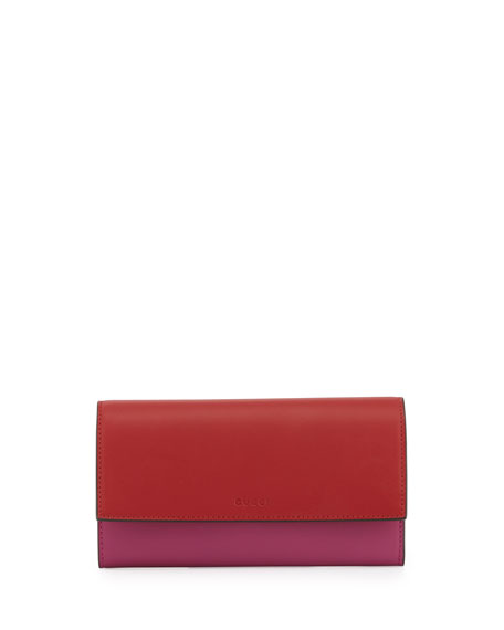 Gucci Contrast Leather Continental Wallet, Rosette/Hibiscus