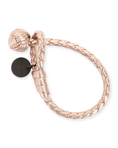 Intrecciato Single-Knot Grosgrain Bracelet, Rose Gold