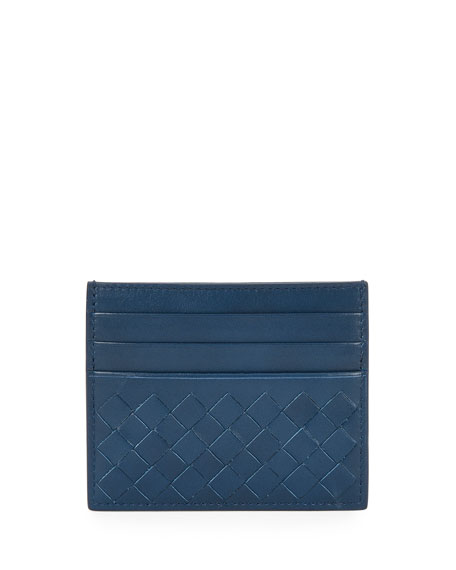 Intrecciato Leather Card Case, Cobalt Blue